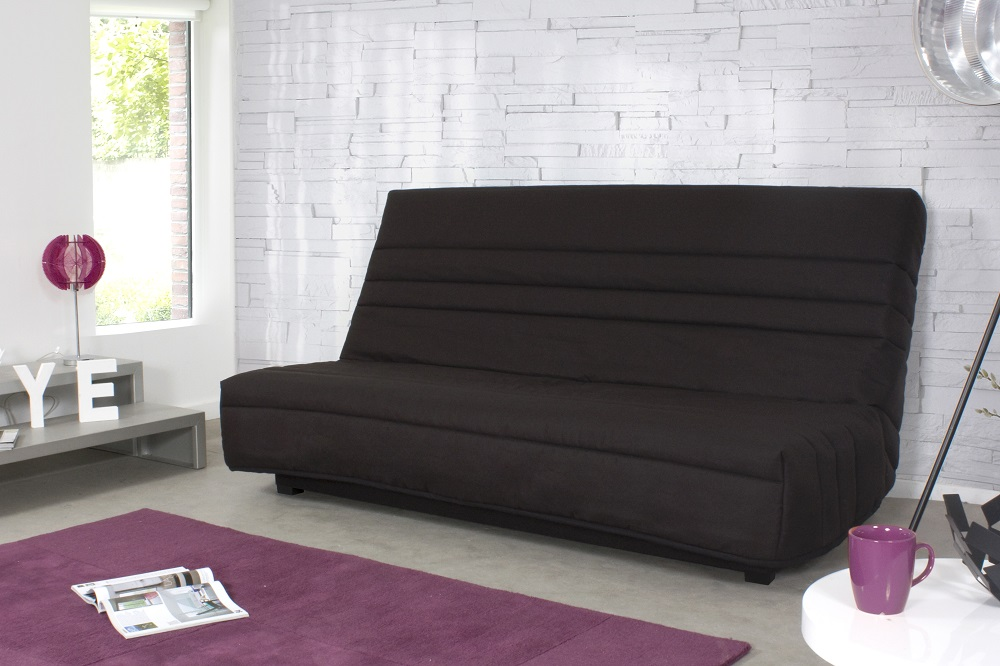 banquette lit clic clac maya uni noir 130x190. Black Bedroom Furniture Sets. Home Design Ideas